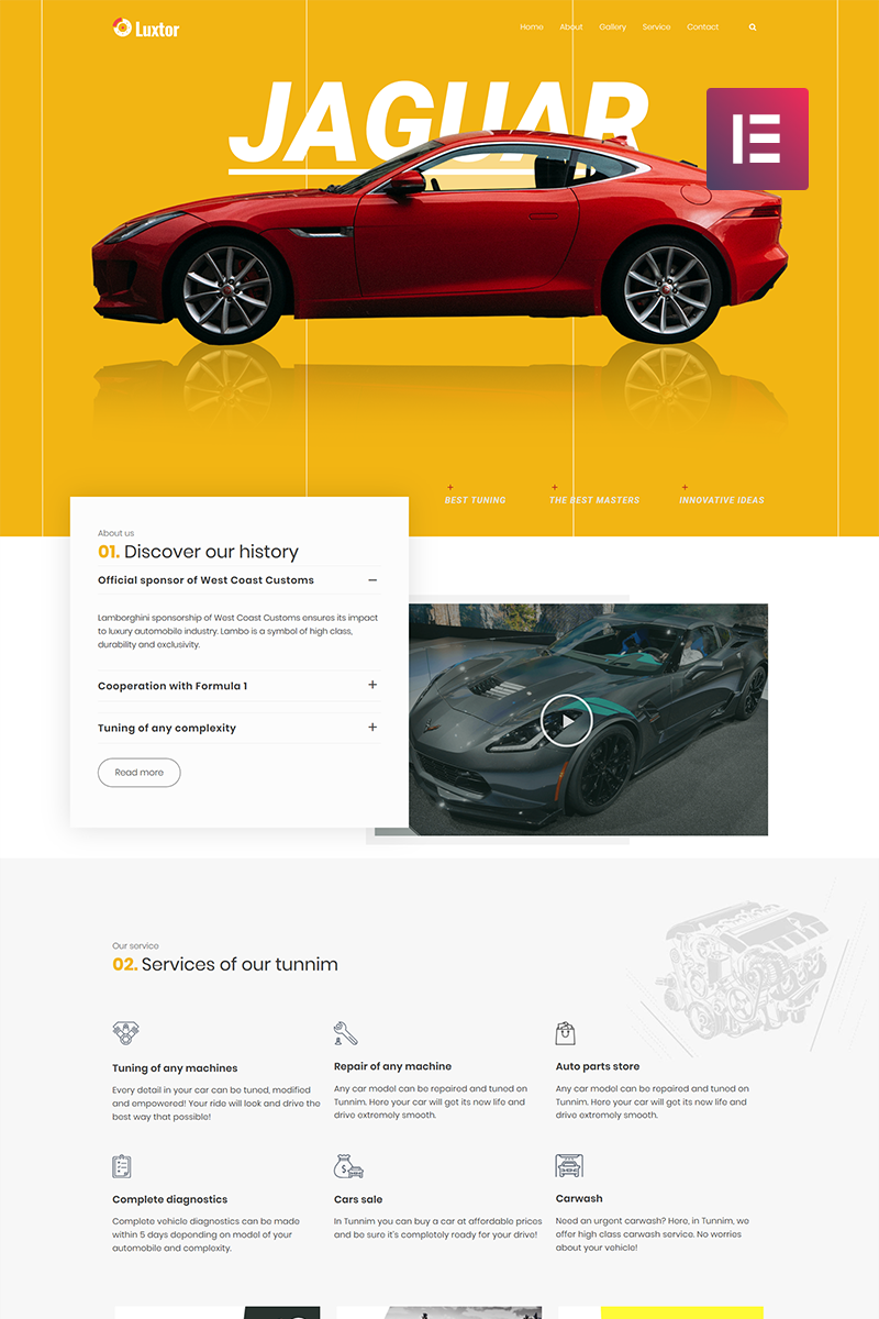 """Luxor - Car Tuning Elementor"" thème WordPress adaptatif #73611"