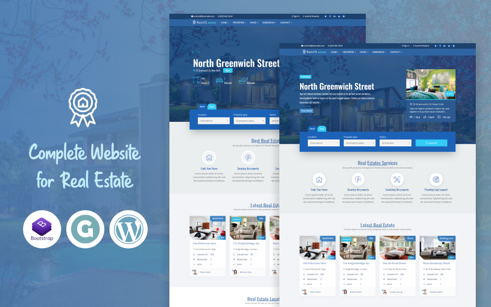 "Modello WordPress Responsive #73622 ""RealAX - Premium Real Estate"""
