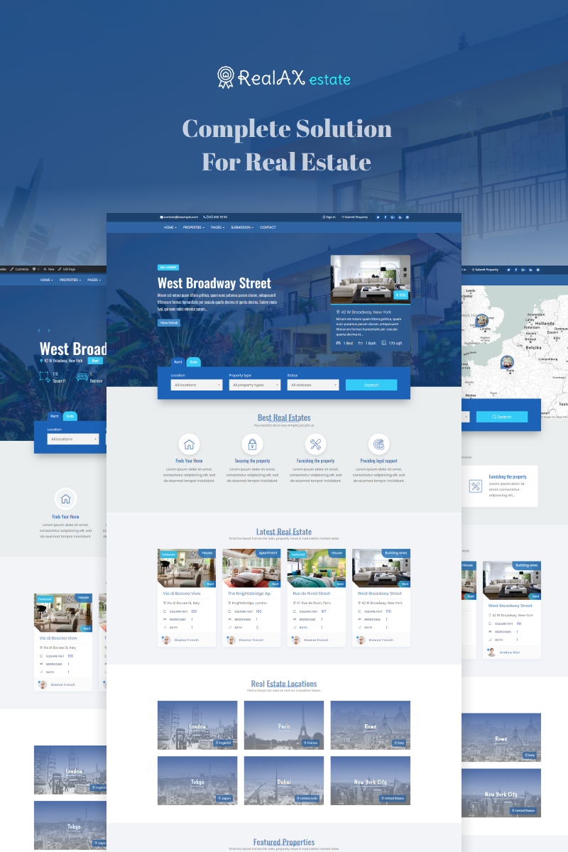 "Modello WordPress Responsive #73622 ""RealAX - Premium Real Estate"""