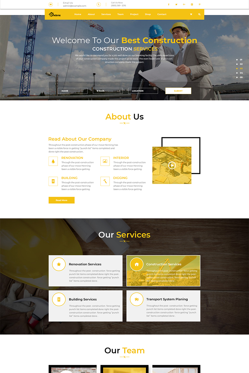 """""""OnSite Multipage Construction Web Template PSD"""" PSD模板 #73644 - 截图"""