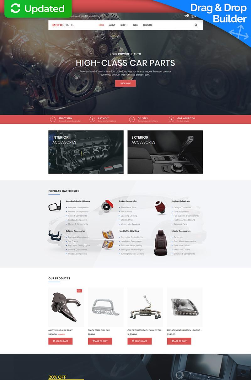 """Plantilla MotoCMS Para Comercio Electrónico """"Motoronix - Car Parts"""" #73678"""