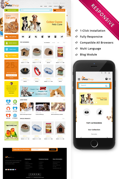 Responsive Plantilla OpenCart #73673 para Sitio de  para Sitio de Perros