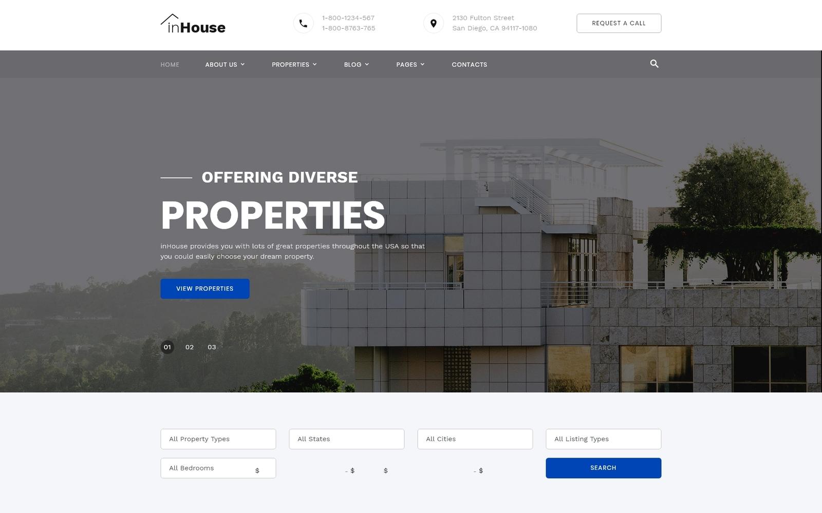 "Plantilla Web ""inHouse - Real Estate Multipage HTML"" #73602"