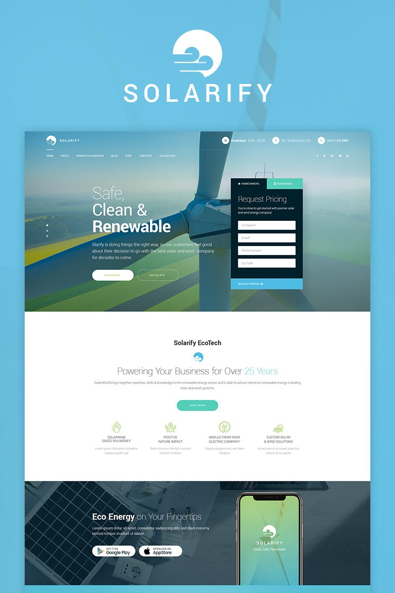 Premium Solarify - Alternative Eco Energy WordPress-tema #73652