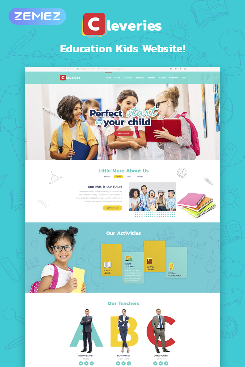 Responsive Cleveries - Education Kids Elementor Wordpress #73689