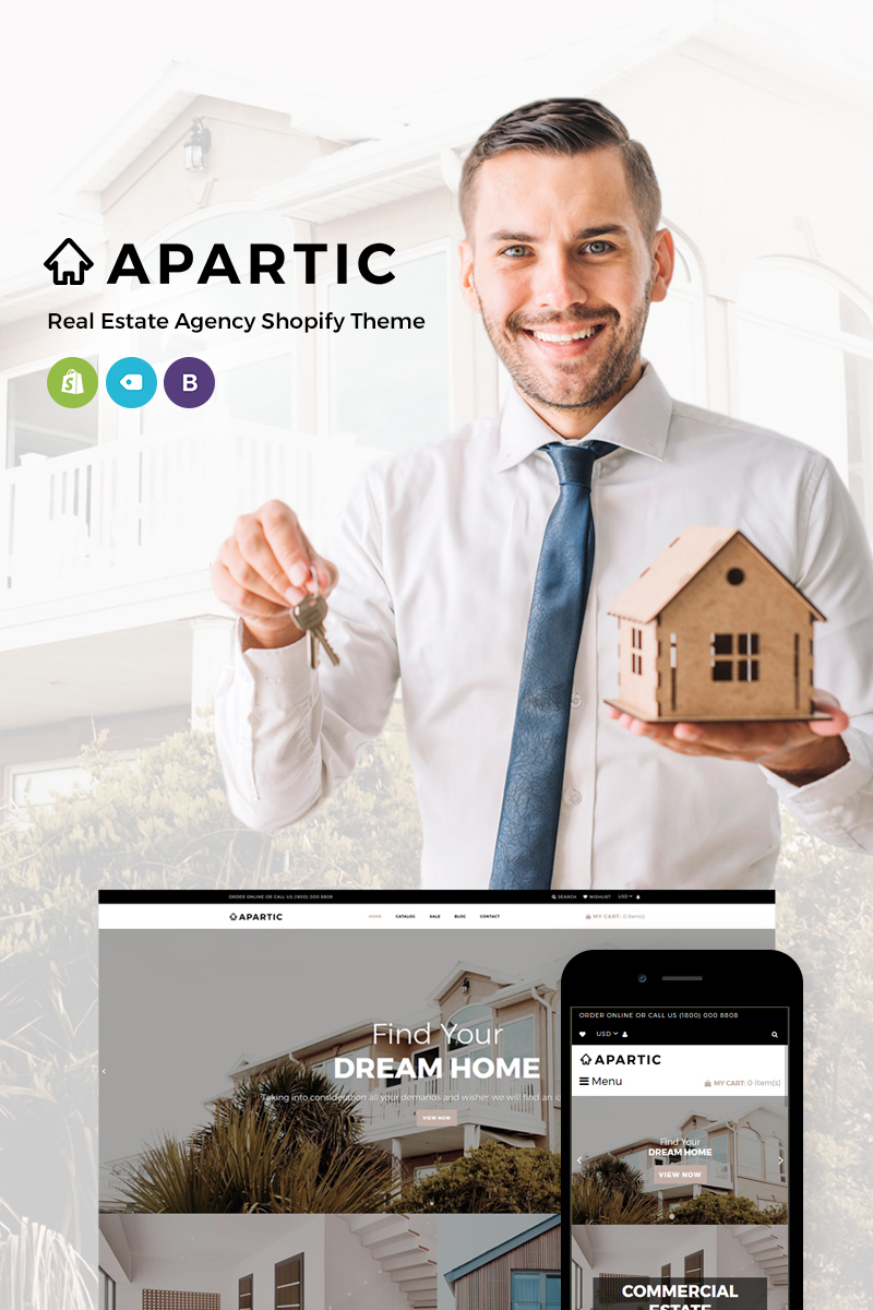 Responsivt Apartic Real Estate Shopify-tema #73636