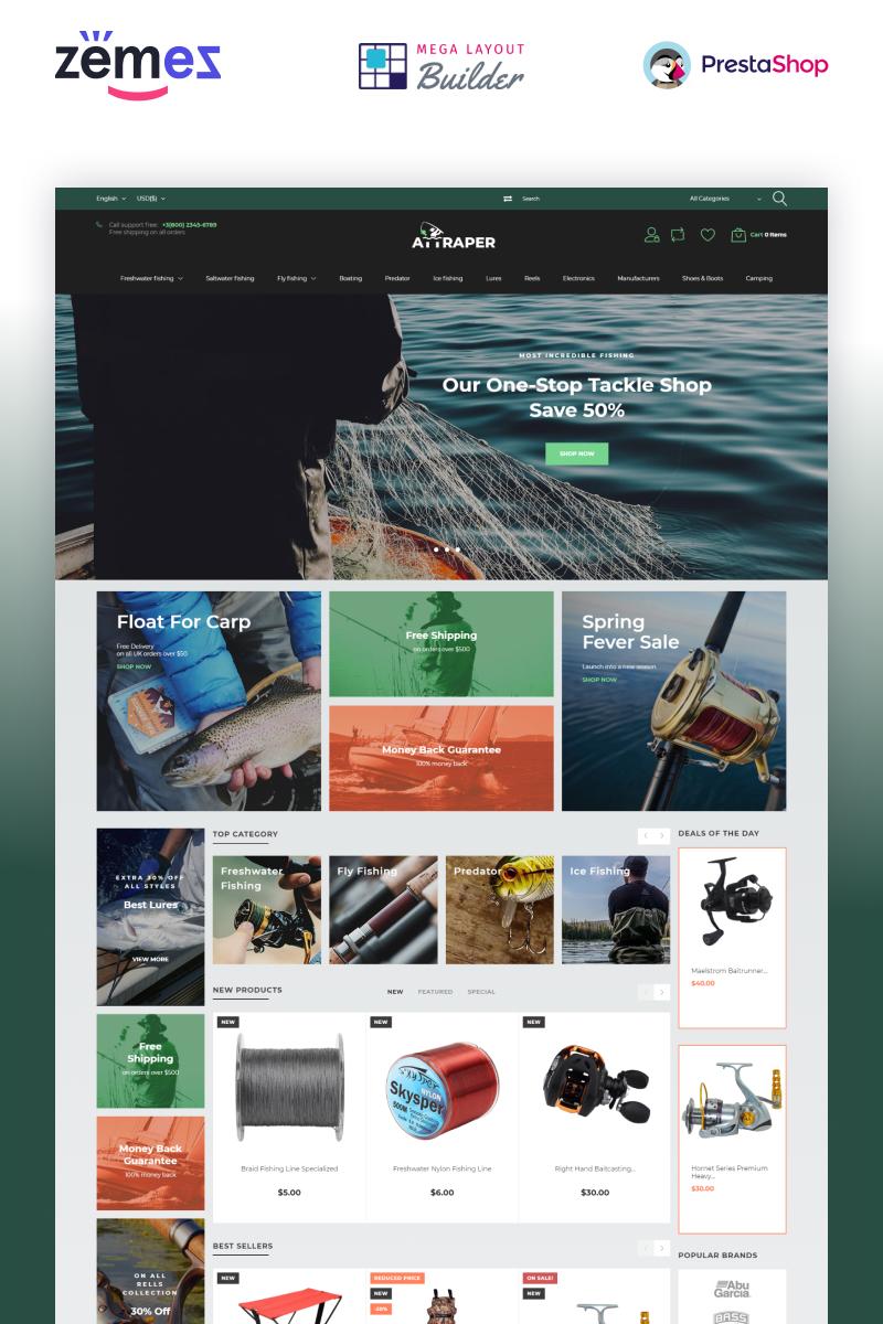 Responsivt Attraper - Fishing eCommerce Bootstrap Template PrestaShop-tema #73642