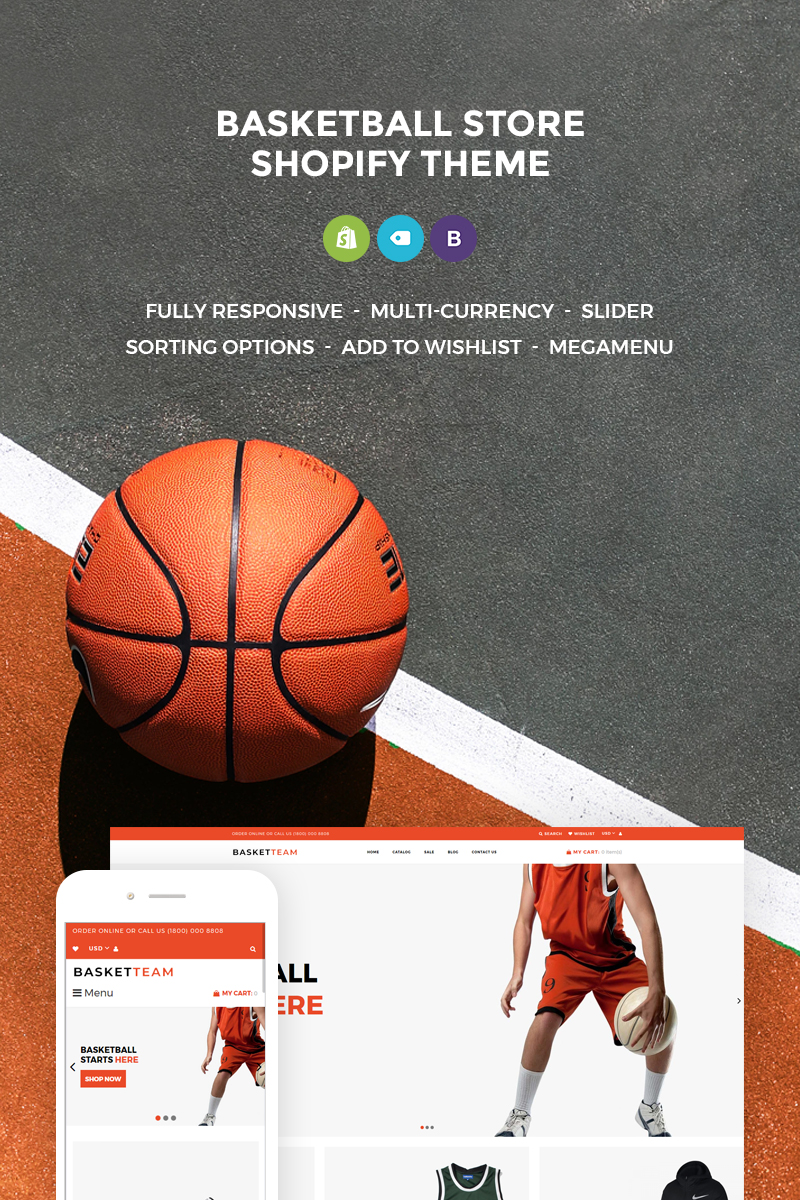 Responsivt BasketTeam Shopify-tema #73660