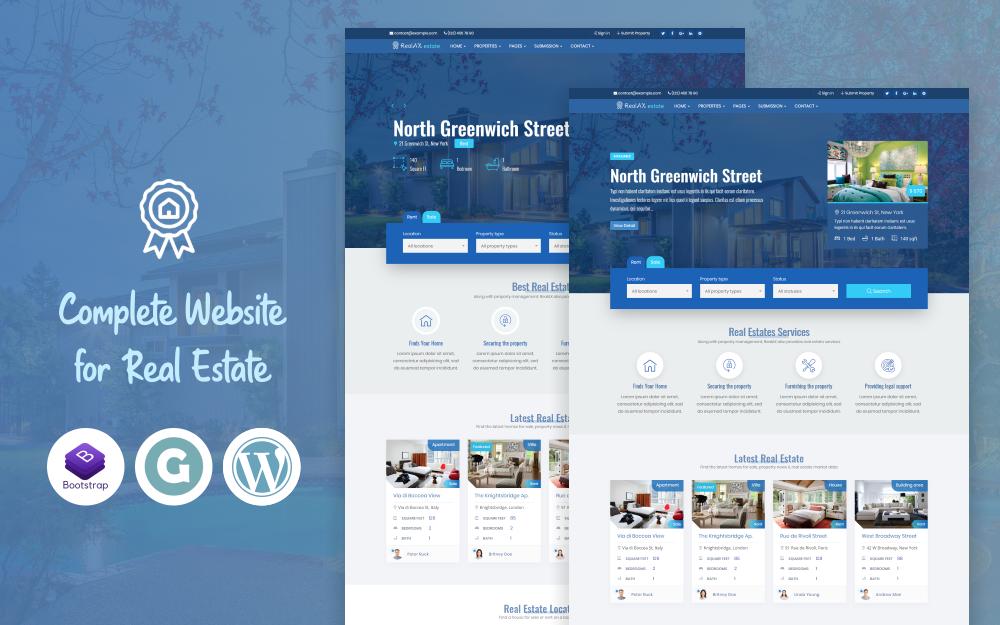 Responsywny motyw WordPress RealAX - Premium Real Estate #73622