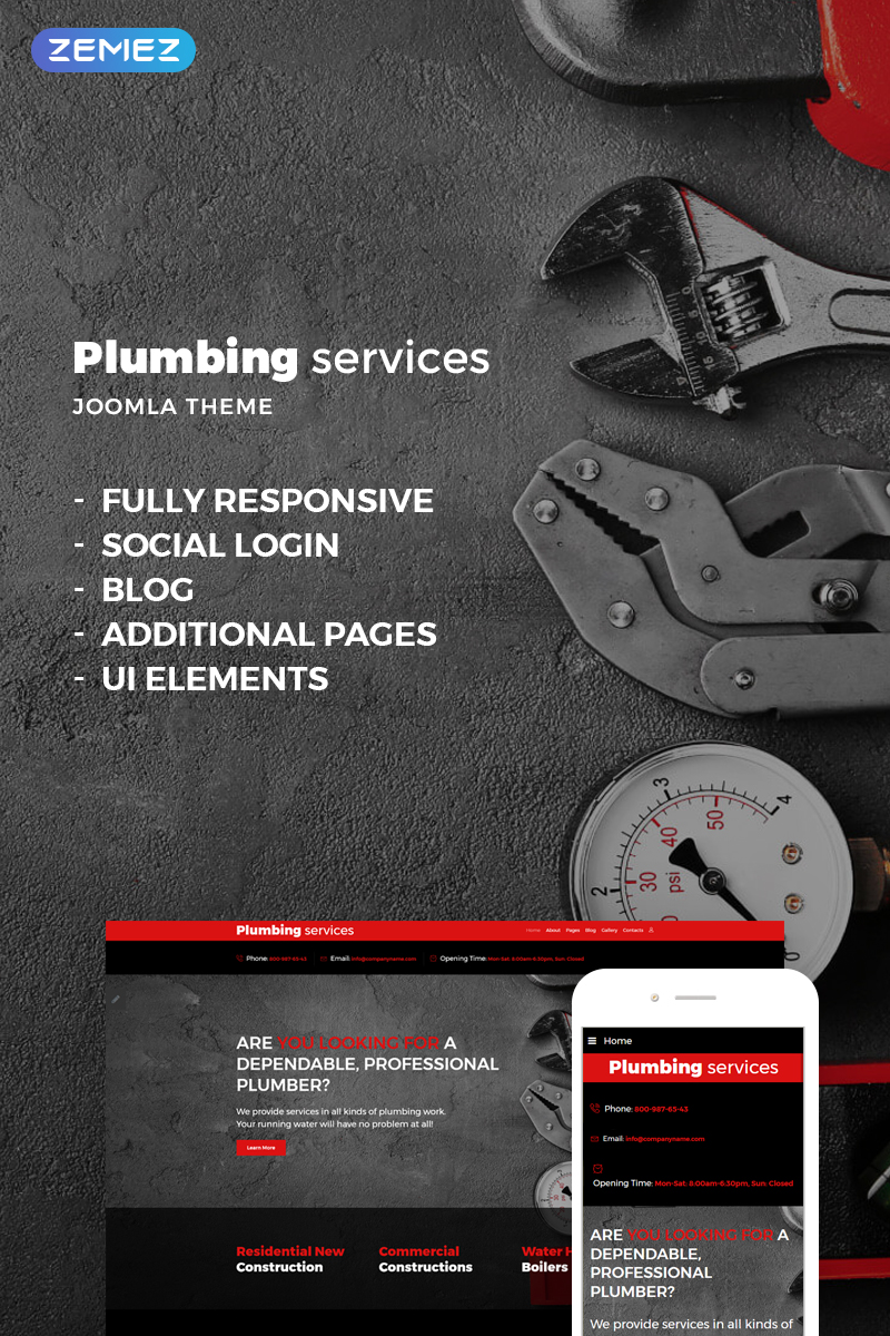 Responsywny szablon Joomla Plumbing Services #73630