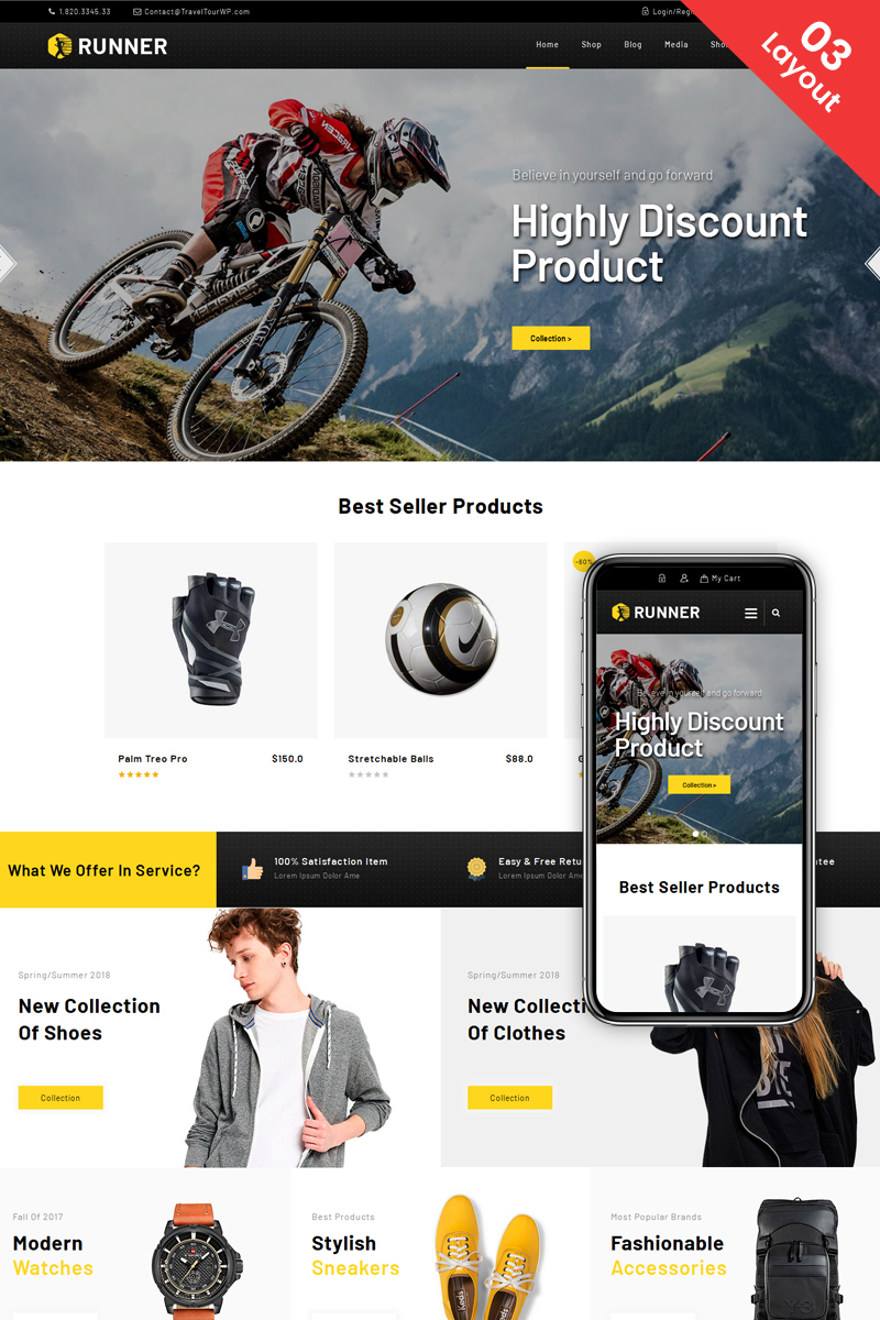 """Runner - Multipurpose"" Responsive WooCommerce Thema №73694"