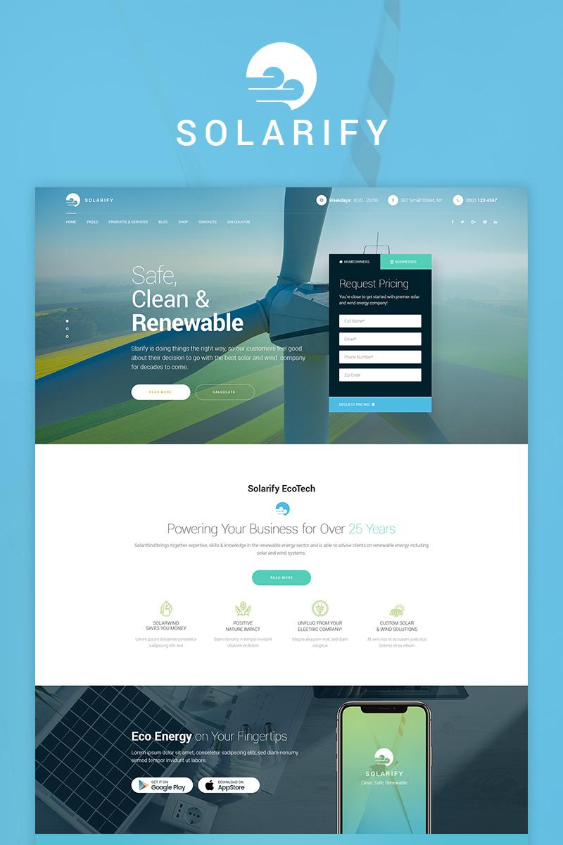 """Solarify - Alternative Eco Energy"" - WordPress шаблон №73652"