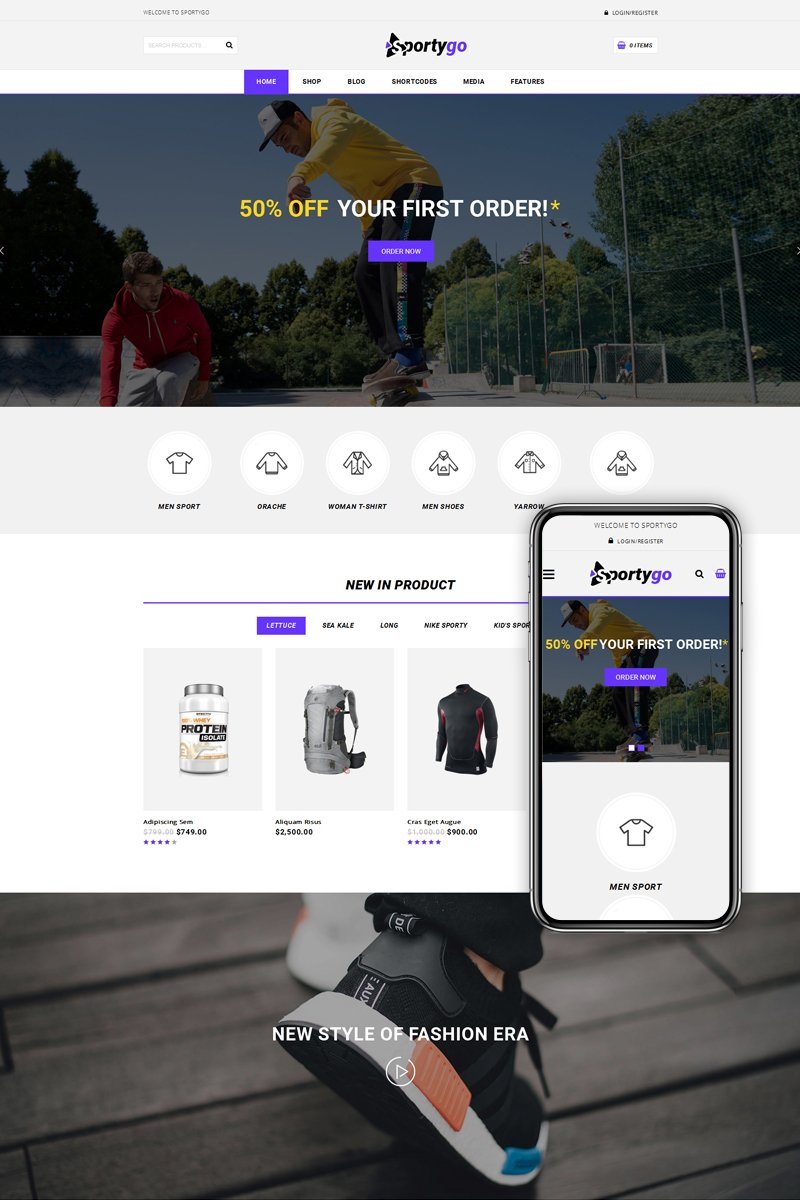 """SportyGo - Sports Shop"" Responsive WooCommerce Thema №73612"