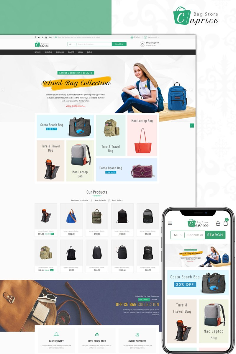 "Tema De PrestaShop ""Caprice - Bag Store"" #73604"