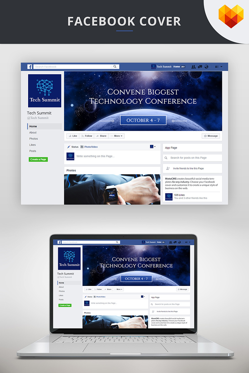 "Tema Social Media #73698 ""Conference Editable Timeline Cover For Facebook"""