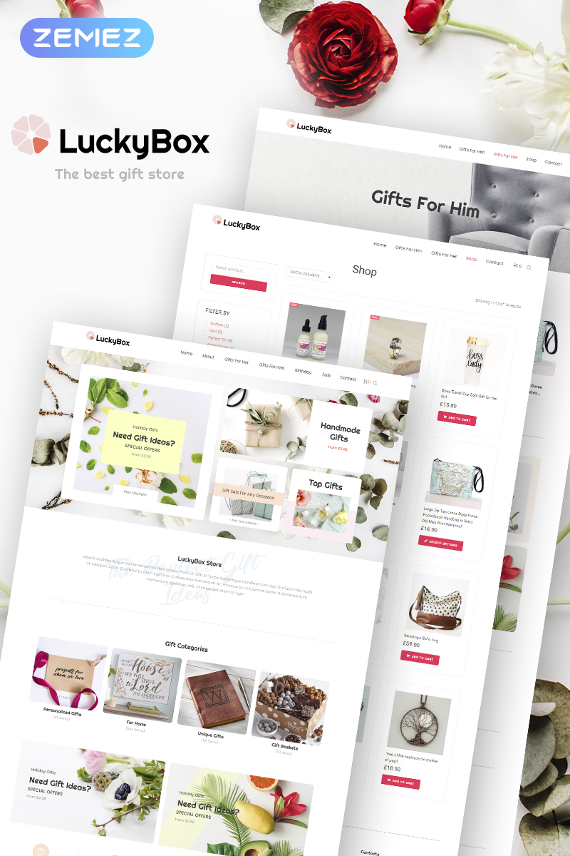 "Tema WooCommerce ""LuckyBox - Gift Store Elementor"" #73640"