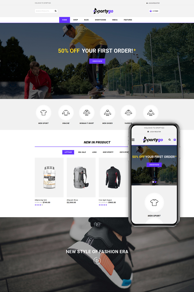 "Tema WooCommerce ""SportyGo - Sports Shop"" #73612"
