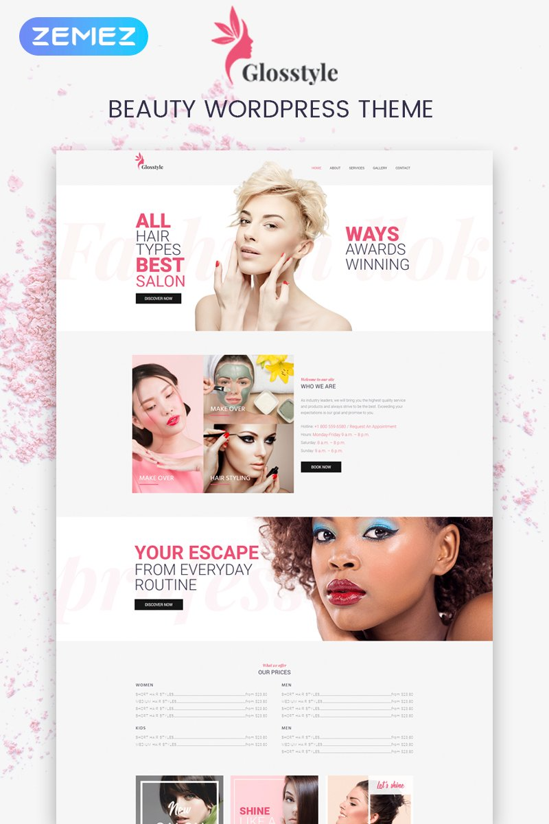 "Tema WordPress Responsive #73692 ""Glosstyle - Beauty Salon Elementor"""