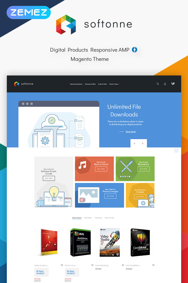 """Template Magento Responsive #73645 """"Softonne - Digital Products"""""""