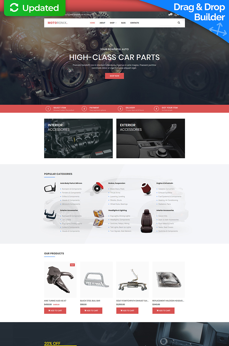 "Template MotoCMS E-commerce Responsive #73678 ""Motoronix - Car Parts"""