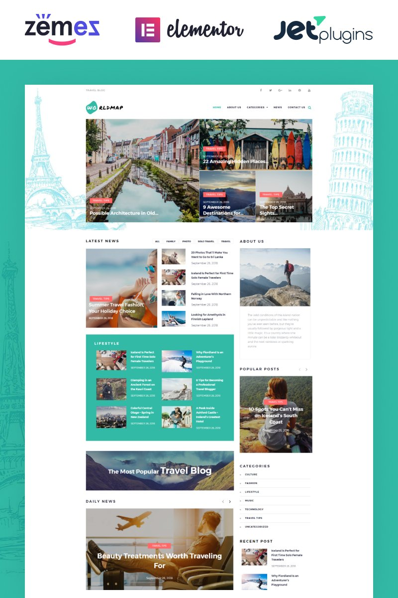 """WorldMap - Travel Photo Blog Elementor"" Responsive WordPress thema №73680"
