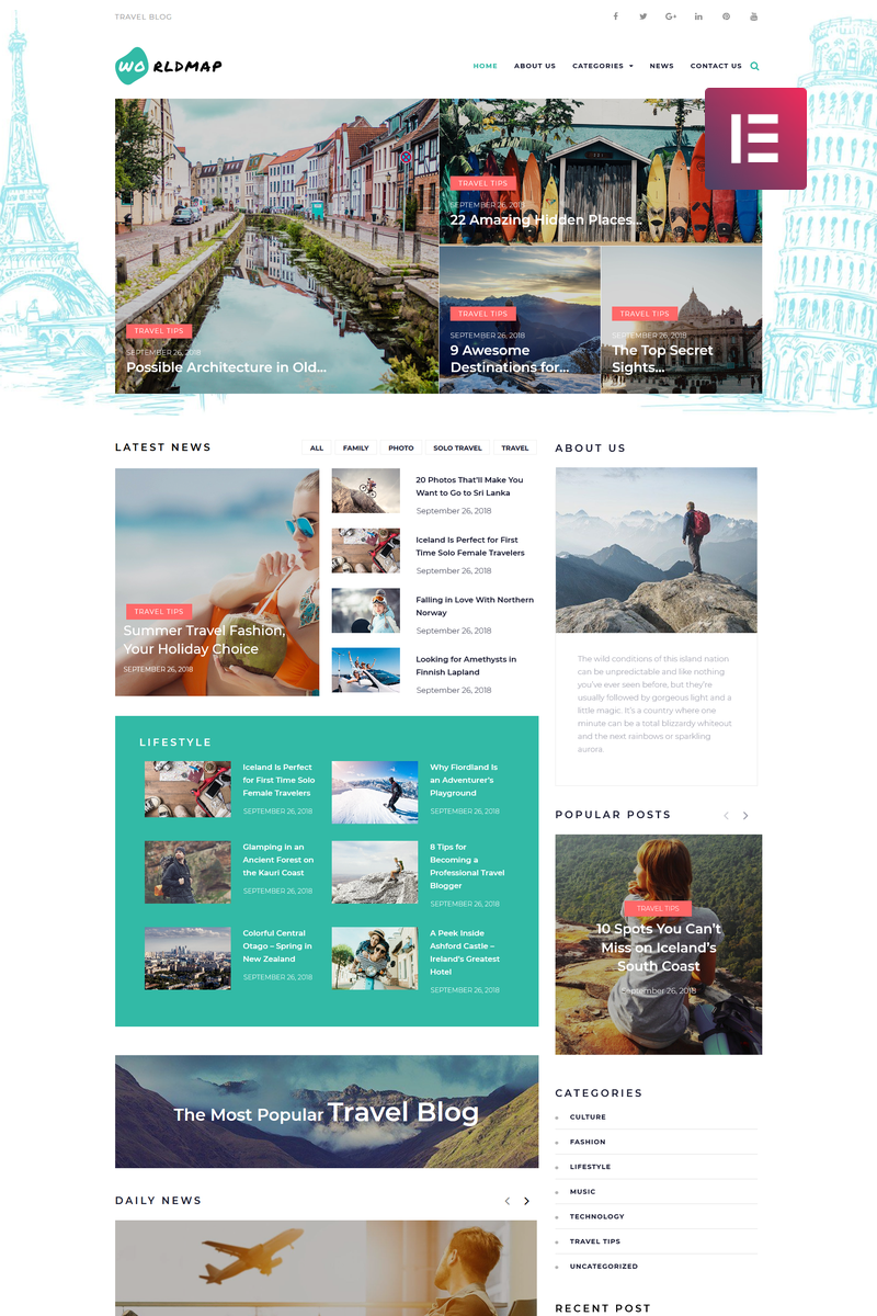WorldMap - Travel Photo Blog Elementor WordPress Theme