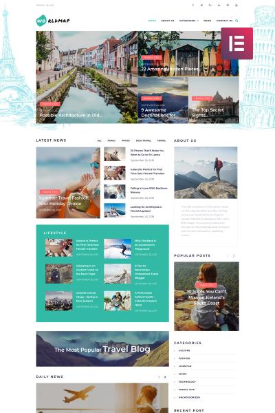 WorldMap - Travel Photo Blog Elementor
