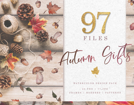 Gifts  Of Autumn PNG Watercolor Set Illustration