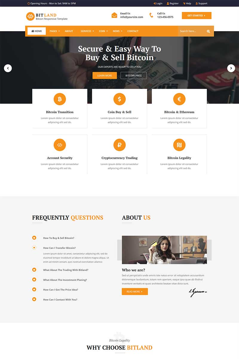 """""""Bitland - Bitcoin And Crypto Currency"""" Responsive Website template №73733"""