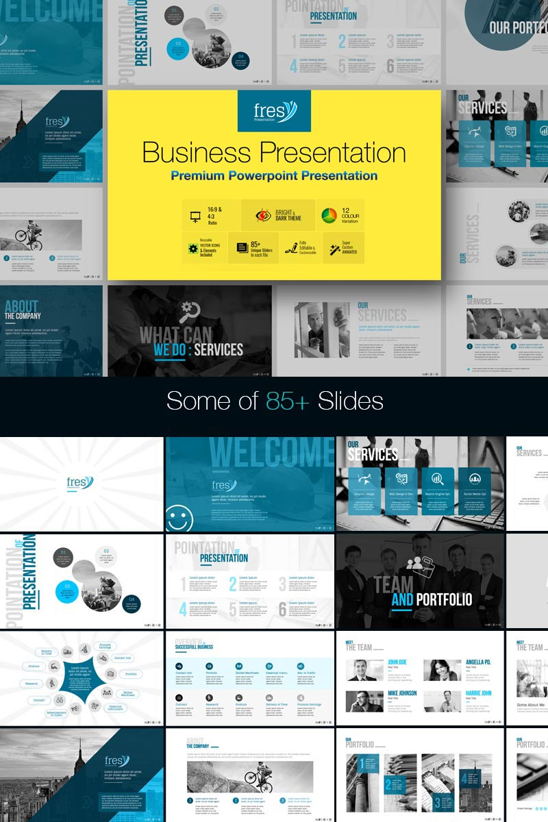 """Fresy | Business"" modèle PowerPoint  #73787"