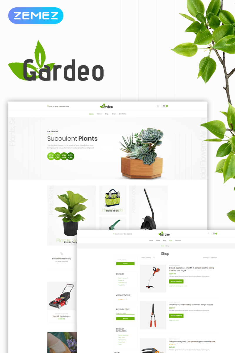 """Gardeo – Garden Equipment Elementor"" - адаптивний WooCommerce шаблон №73727"