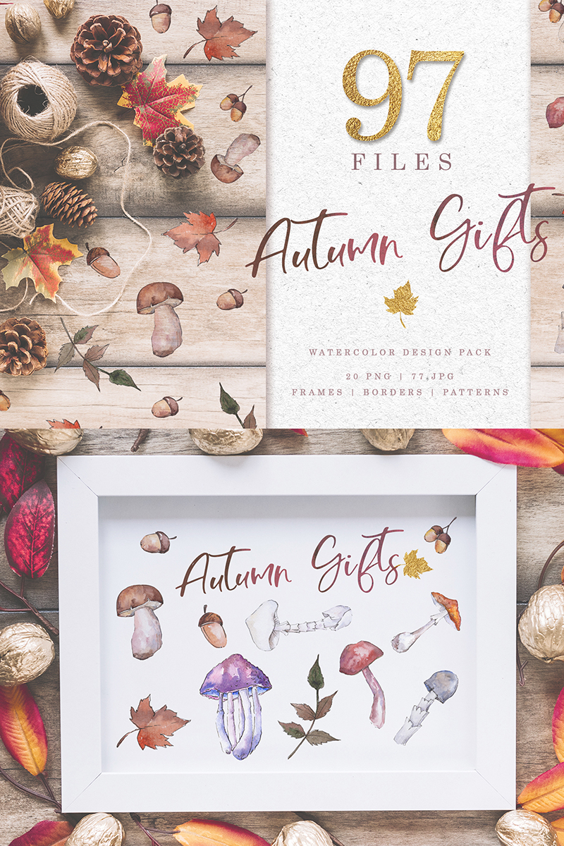Gifts  Of Autumn PNG Watercolor Set Açıklamalar #73784 - Ekran resmi