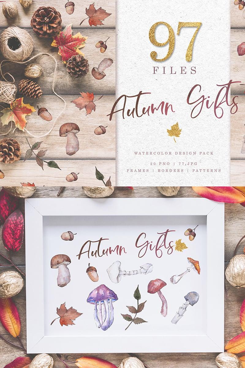 Gifts  Of Autumn PNG Watercolor Set Illustration - screenshot