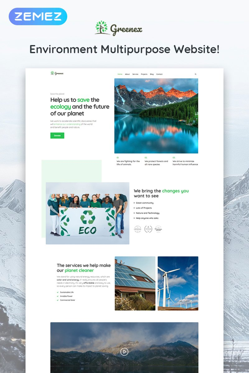 Greenex - Environment Multipurpose Elementor WordPress Theme