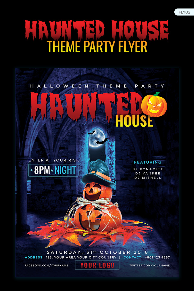 Haunted House Party Flyer - Halloween Night Corporate Identity Template - screenshot