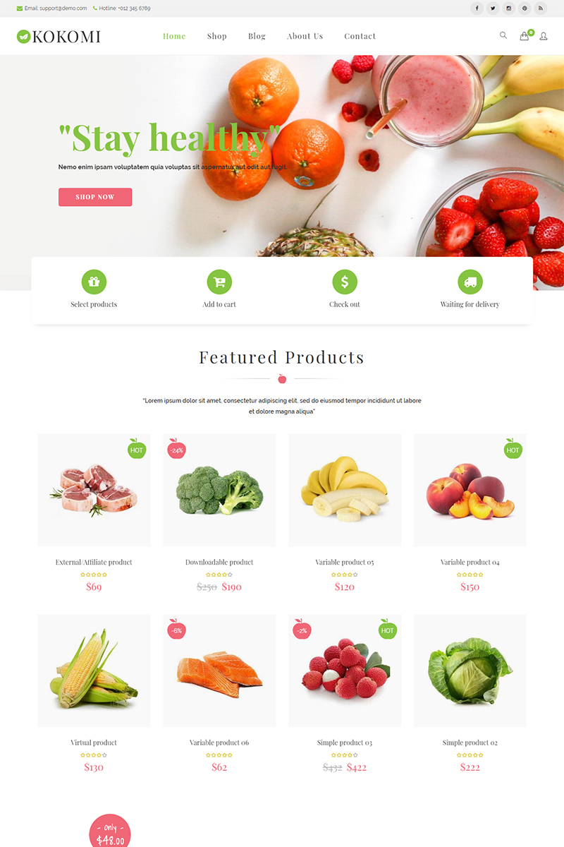 """Kokomi - Organic & Food WordPress"" 响应式WooCommerce模板 #73763"