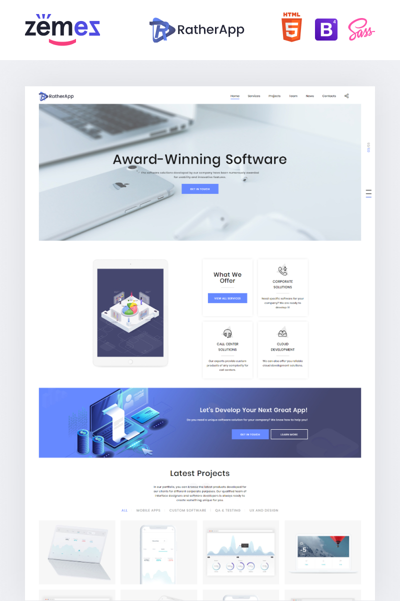 "Landing Page Template namens ""RatherApp - Software Company HTML"" #73762"