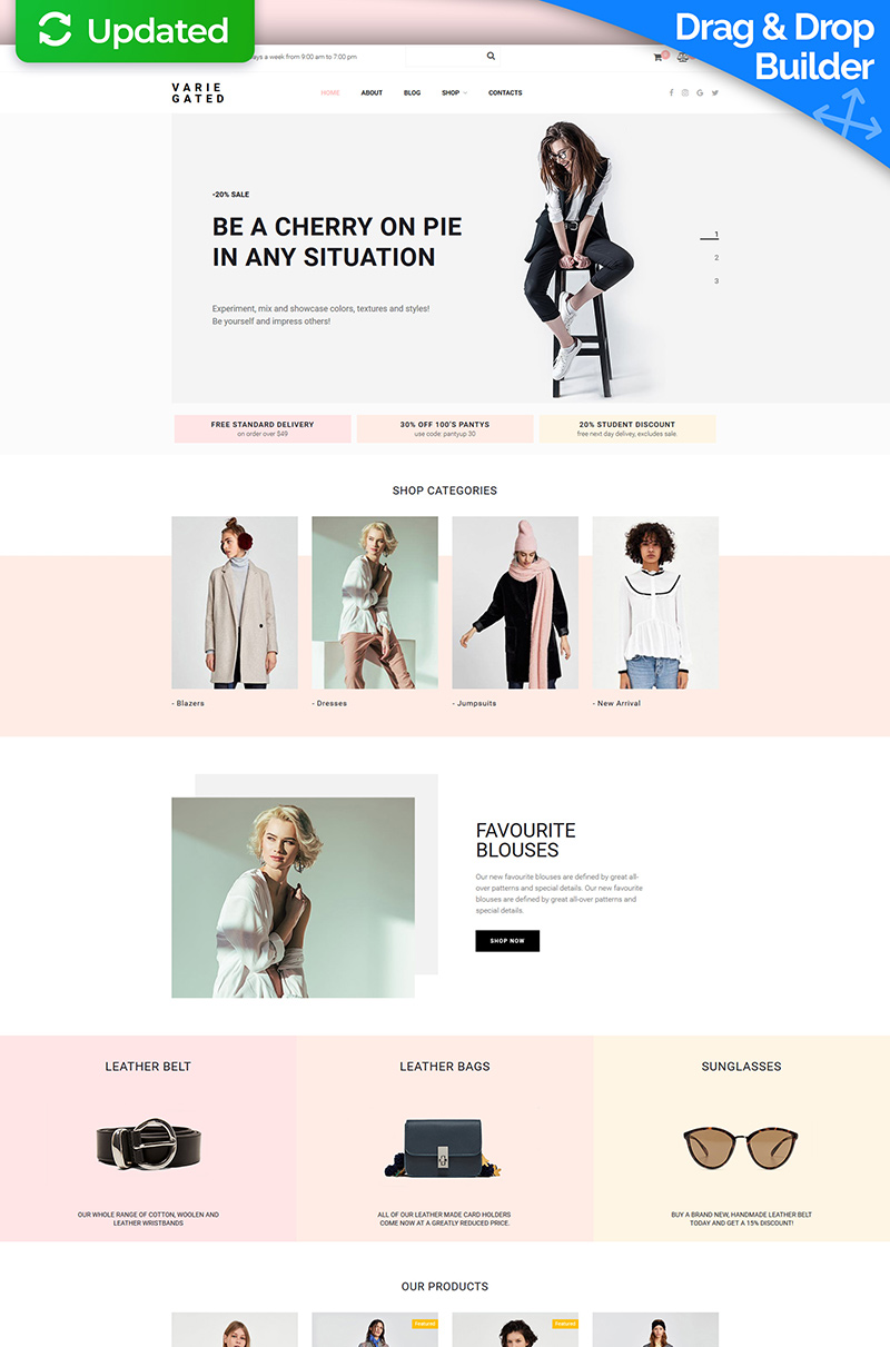 "MotoCMS E-Commerce Vorlage namens ""Varie Gated - Fashion Online Store"" #73783"