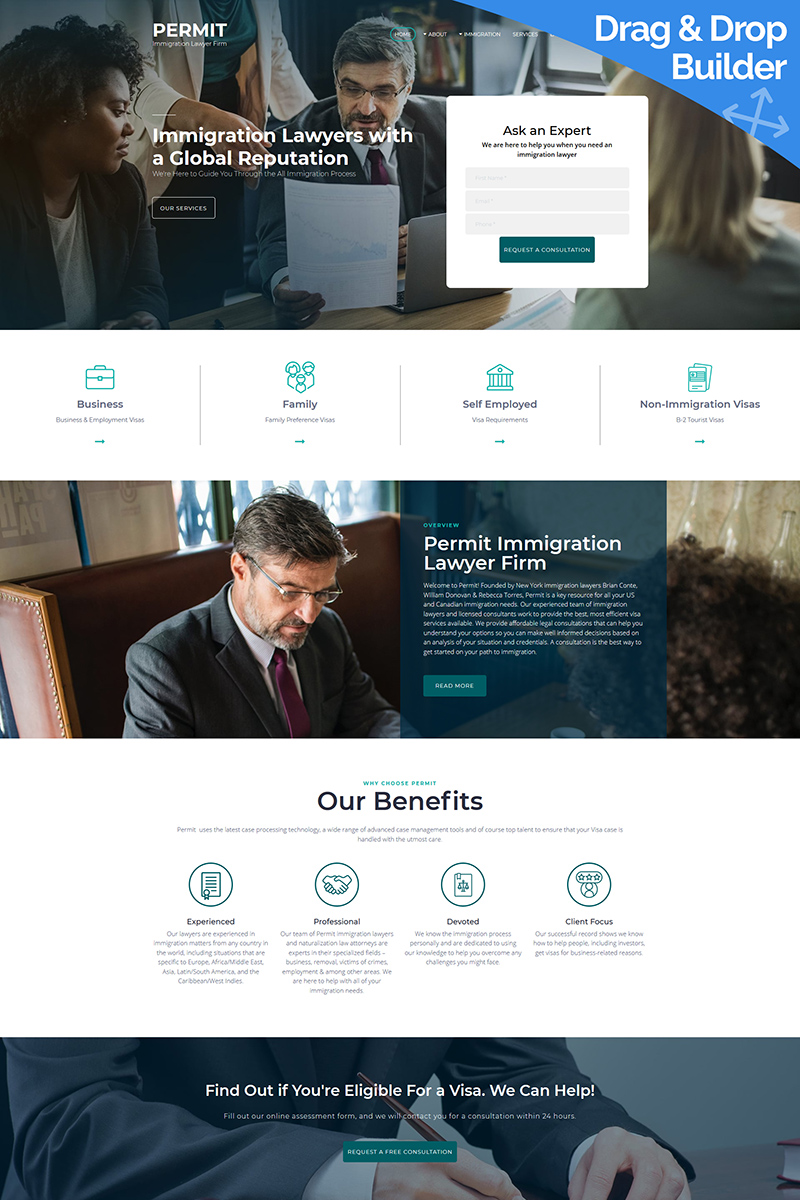 Permit - Immigration Lawyer Moto CMS 3 Template