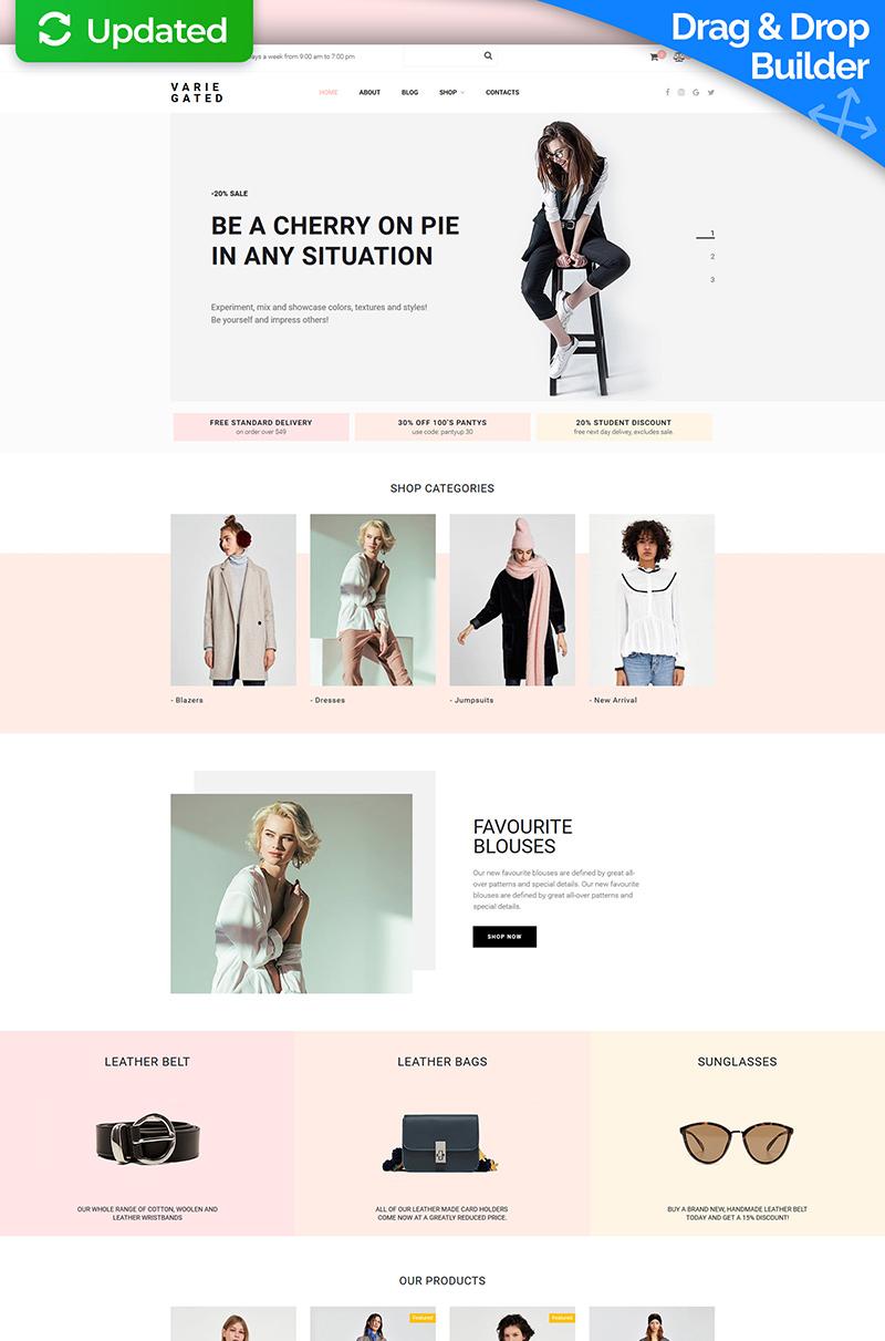"""Plantilla MotoCMS Para Comercio Electrónico """"Varie Gated - Fashion Online Store"""" #73783"""