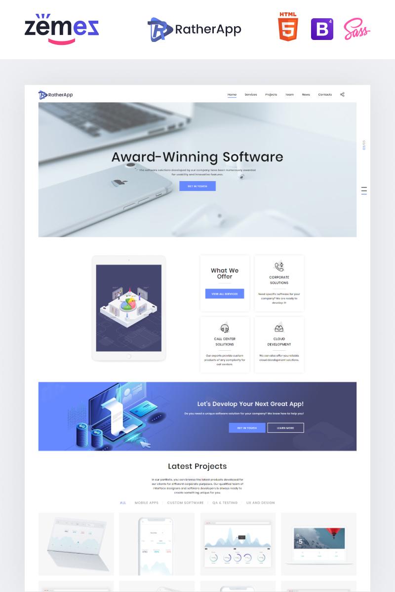 """""""RatherApp - Software Company HTML"""" - адаптивний Шаблон цільової сторінки №73762"""