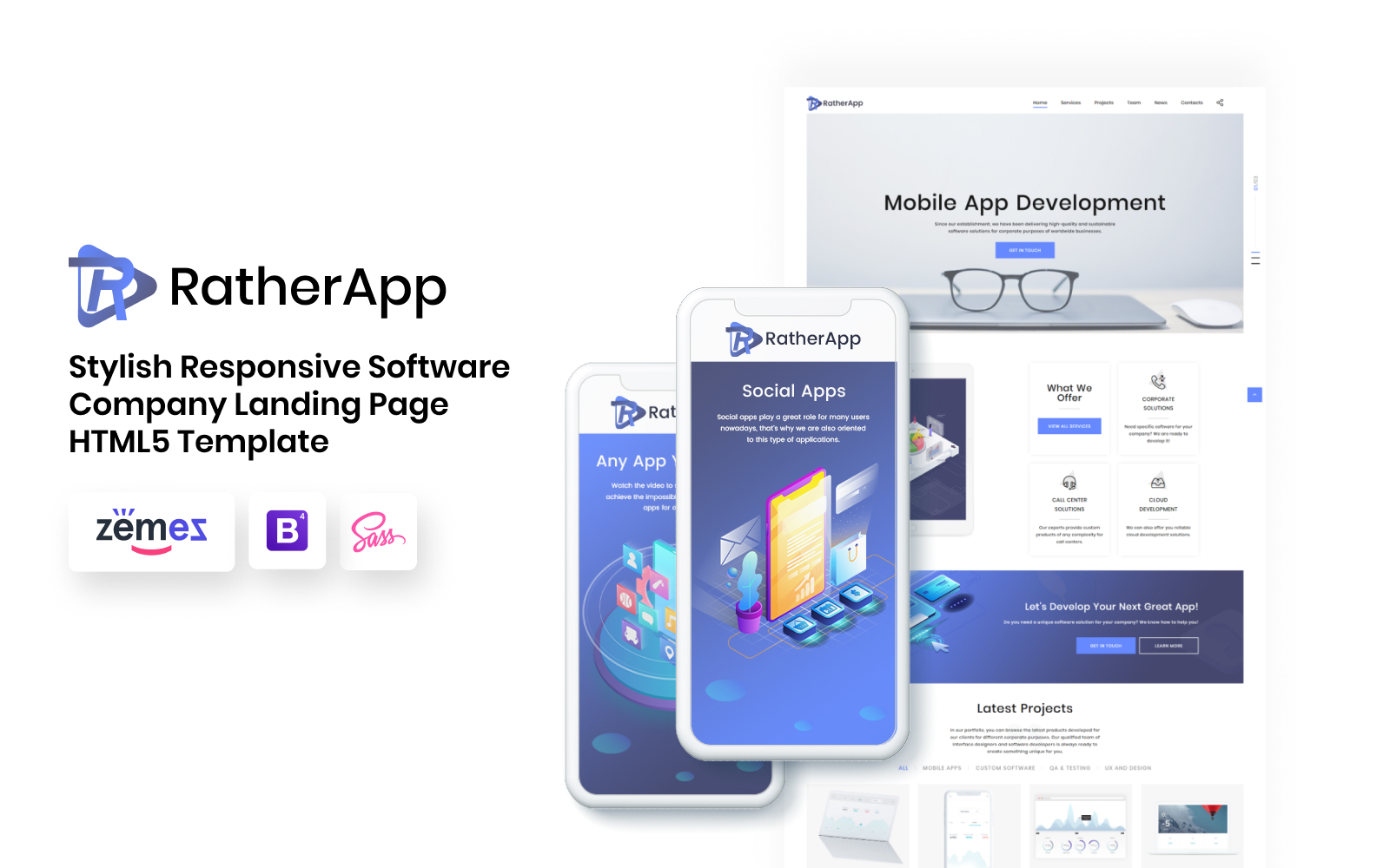 """RatherApp - Software Company HTML"" 响应式着陆页模板 #73762"