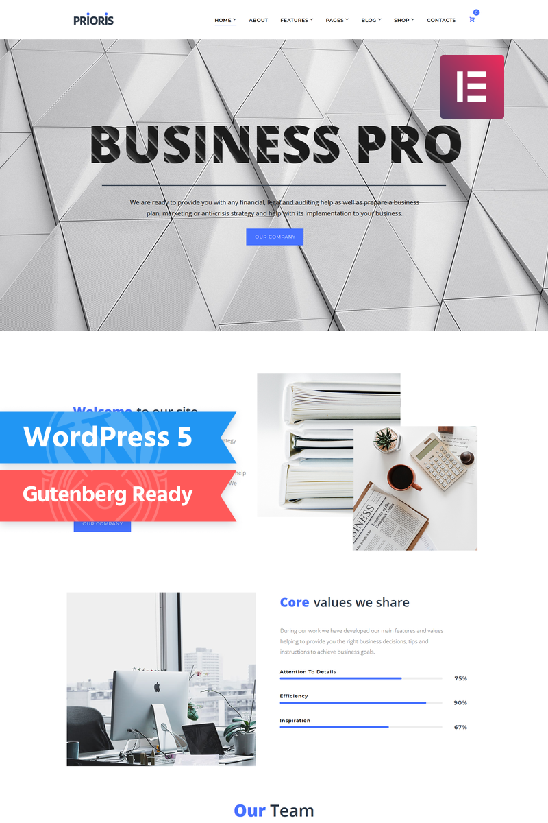 Responsive Prioris - Consulting Agency Elementor Wordpress #73734 - Ekran resmi