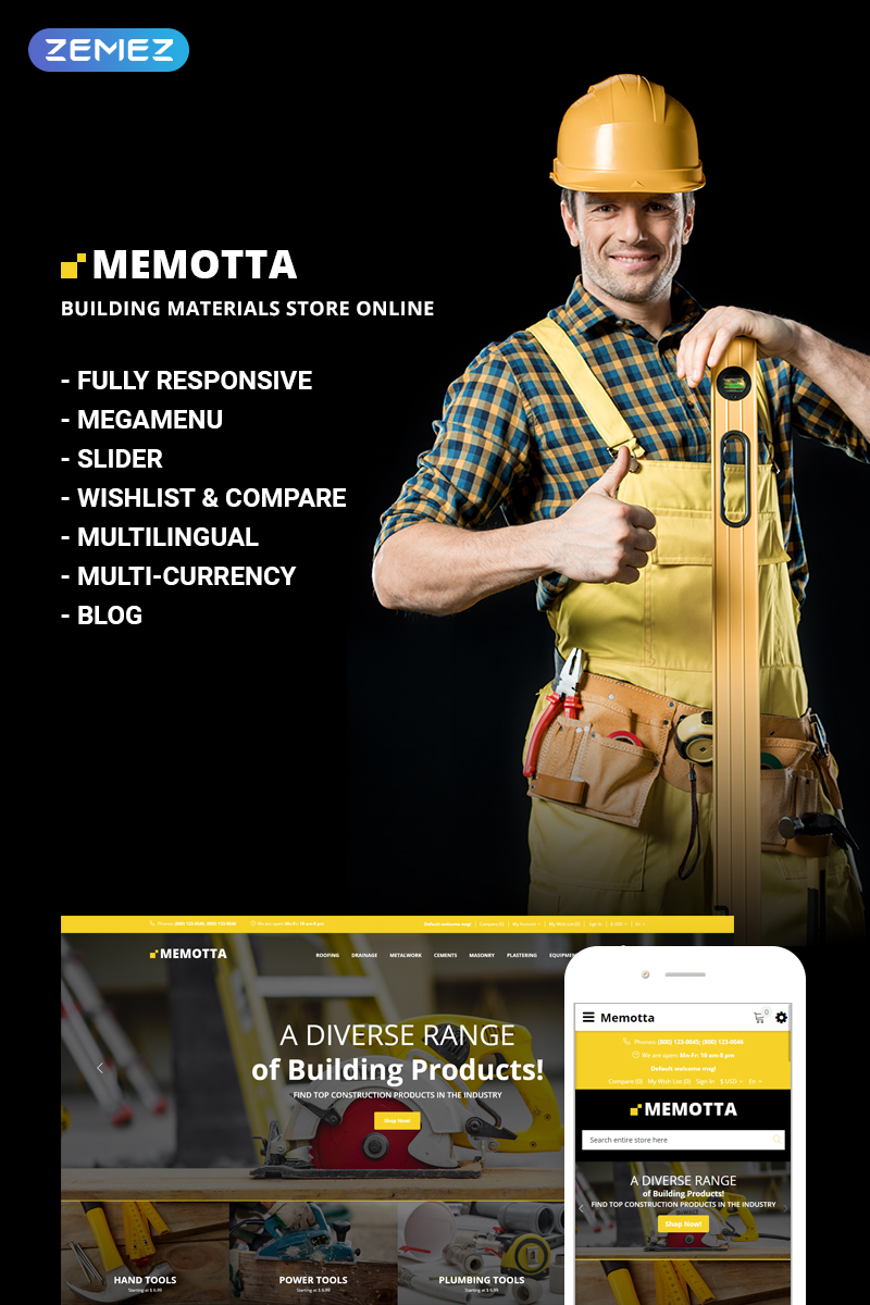 Reszponzív Memotta - Building Materials Store OpenCart sablon 73740