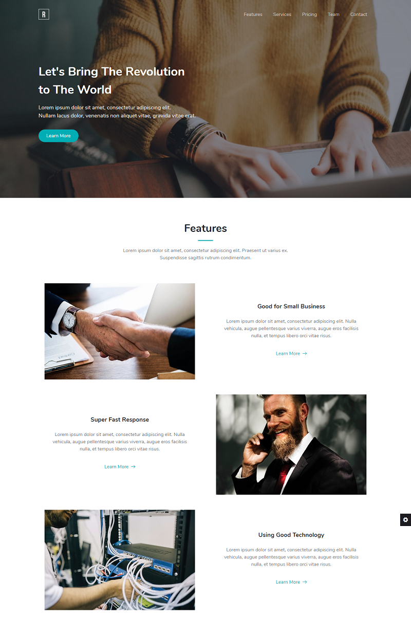 Revolution - Bootstrap 4 Landing Page Template