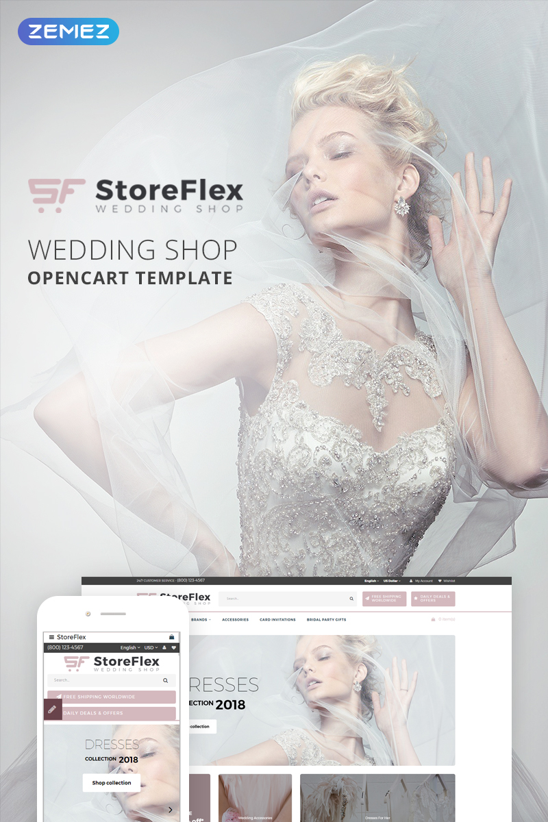 """StoreFlex - Wedding Store"" Responsive OpenCart Template №73714 - screenshot"