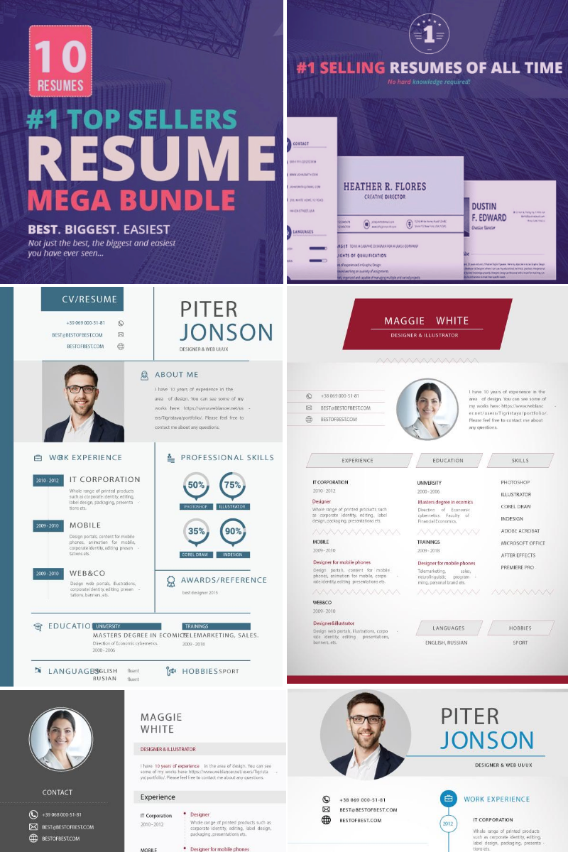 "Tema Bundle #73764 ""Top Selling Resume/CV Bundle: 10 Templates"""