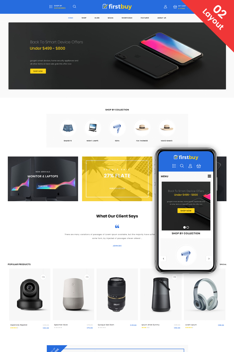 "Tema WooCommerce ""Firstbuy - Multipurpose Shop"" #73726 - captura de pantalla"