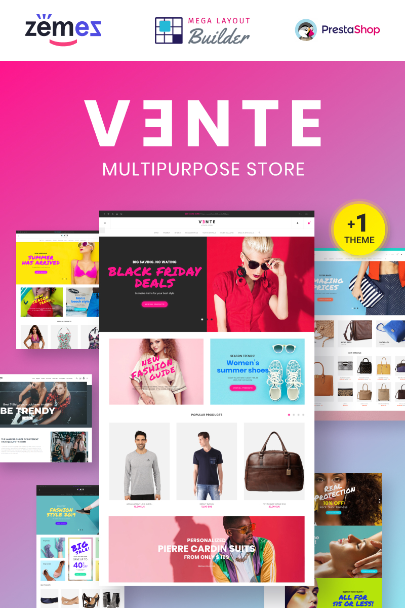 """Vente - Multipurpose"" 响应式PrestaShop模板 #73782 - 截图"