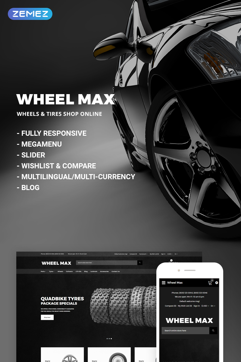 Wheel Max - Wheels & Tires Shop OpenCart Template